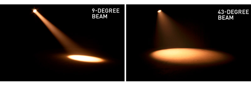 ADJ Par Z Move beam angles: 9-degrees and 43-degrees